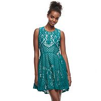 Juniors' Up by ultra pink Crochet Skater Dress