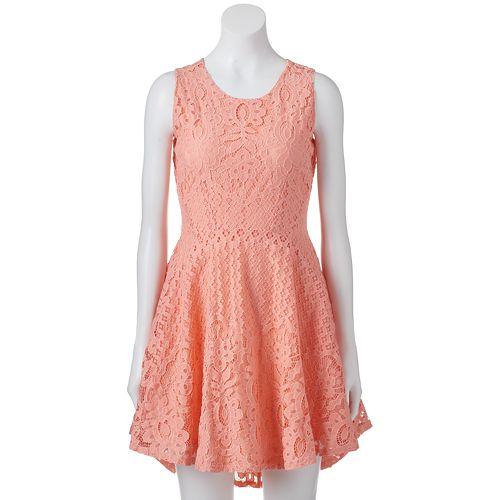 Juniors' Up by ultra pink Crochet Skater Dress