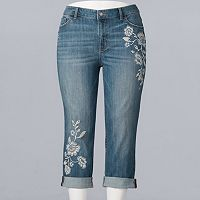 Plus Size Simply Vera Vera Wang Embroidered Roll Cuff Capris