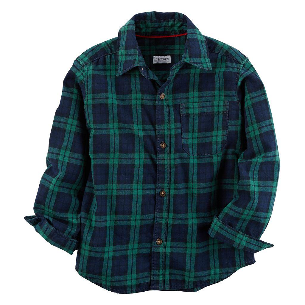 Boys 4-8 Carter's Buffalo Check Flannel Button Down Shirt