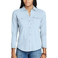 Women's Chaps Jersey Button-Down Work Shirt