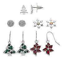 Christmas Tree, Poinsettia & Snowflake Nickel Free Earring Set