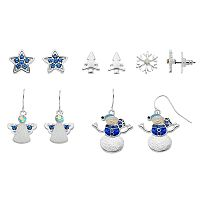 Blue Star, Christmas Tree, Snowflake, Angel & Snowman Nickel Free Earring Set
