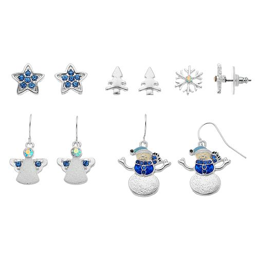 Blue Star, Christmas Tree, Snowflake, Angel & Snowman Nickel Free Earring Set