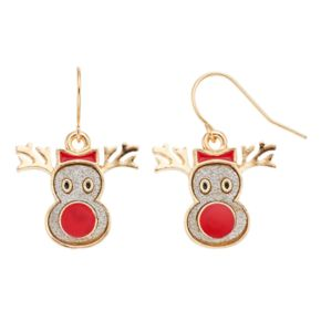 Reindeer Face Nickel Free Drop Earrings