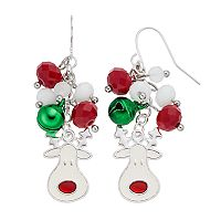 Beaded Jingle Bell & Reindeer Nickel Free Drop Earrings