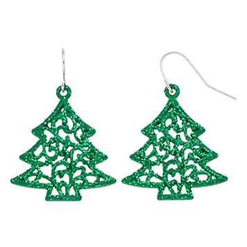 Filigree Christmas Tree Nickel Free Drop Earrings