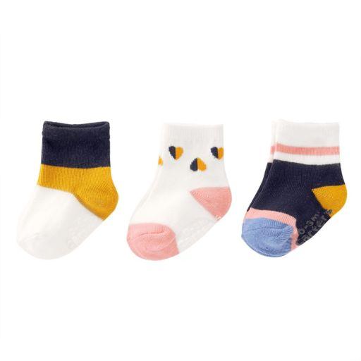 Baby / Toddler Girl Carter's 3-pk. Hearts & Colorblock Crew Socks