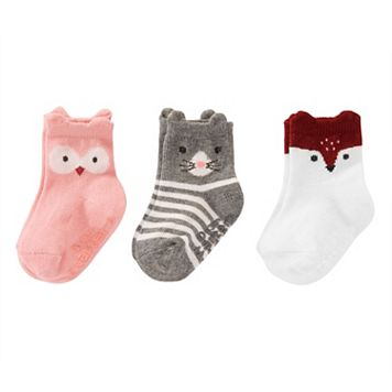 Baby / Toddler Girl Carter's 3-pk. Animal Character Crew Socks
