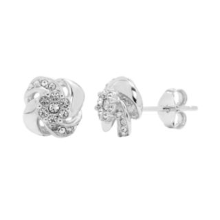 Diamond Splendor Sterling Silver Crystal Swirl Stud Earrings