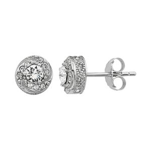 Diamond Splendor Sterling Silver Crystal & Diamond Accent Halo Stud Earrings