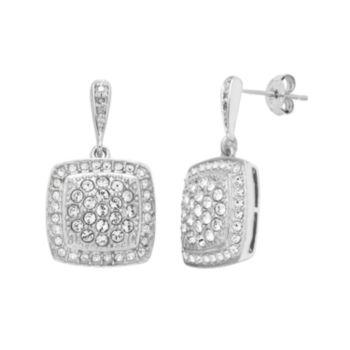 Diamond Splendor Sterling Silver Crystal Square Drop Earrings