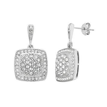 Diamond Splendor Sterling Silver Crystal Square Drop Earrings