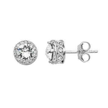 Diamond Splendor Sterling Silver Crystal & Diamond Accent Halo Stud Earrings