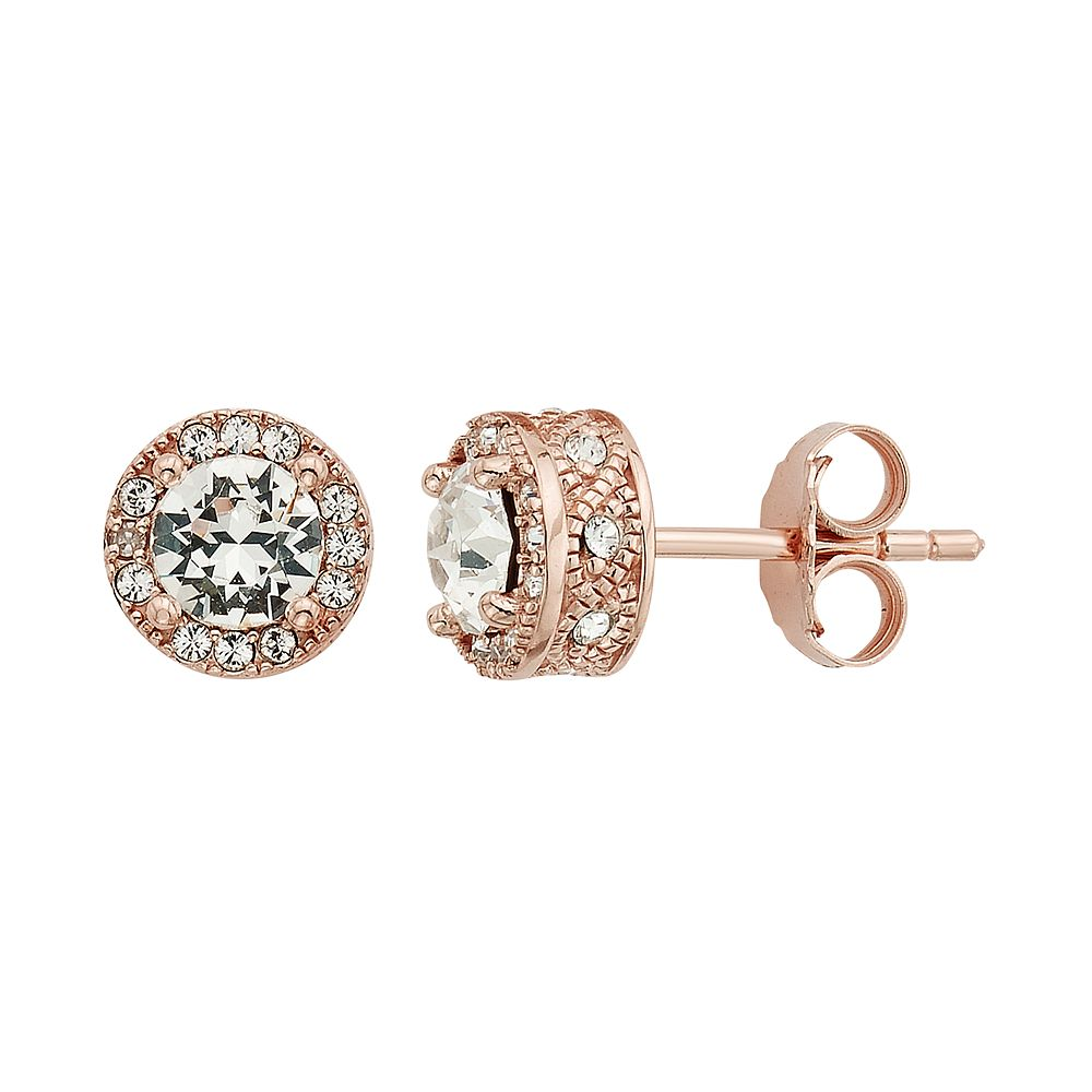 Diamond Splendor 18k Rose Gold Over Silver Crystal Accent Halo Stud Earrings