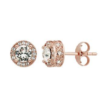 Diamond Splendor 18k Rose Gold Over Silver Crystal & Diamond Accent Halo Stud Earrings