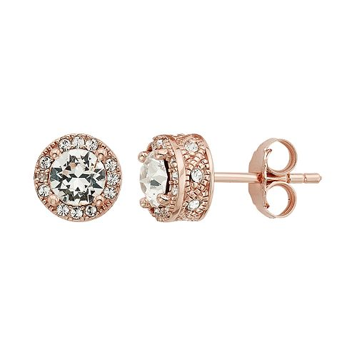 Diamond Splendor 18k Rose Gold Over Silver Crystal & Diamond Accent Halo Stud Earrings