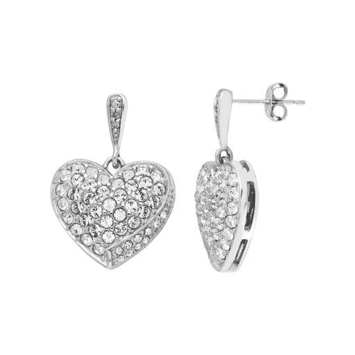 Diamond Splendor Sterling Silver Crystal Heart Drop Earrings