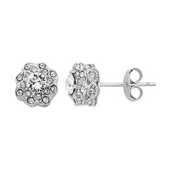 Diamond Splendor Sterling Silver Crystal & Diamond Accent Flower Stud Earrings