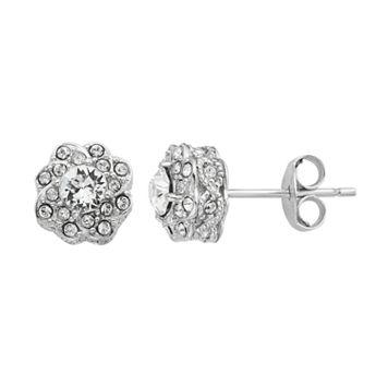 Diamond Splendor Sterling Silver Crystal & Diamond Accent Flower Stud Earrings