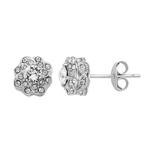 f6ffd3db1ca2c Diamond Splendor Sterling Silver Crystal & Diamond Accent Flower ...