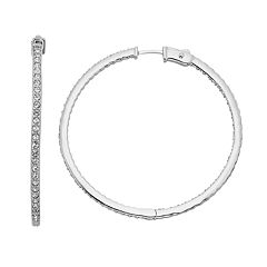 Diamond Splendor Sterling Silver Crystal & Diamond Accent Inside-Out Hoop Earrings