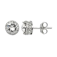 Diamond Splendor Crystal & Diamond Accent Halo Stud Earrings