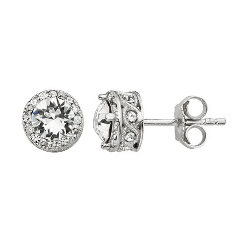 Diamond Splendor Crystal & Diamond Accent Halo Stud Earrings