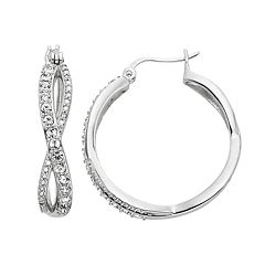 Diamond Splendor Crystal & Diamond Accent Infinity Hoop Earrings