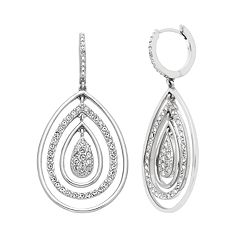 Diamond Splendor Sterling Silver Crystal Teardrop Earrings