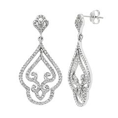 Diamond Splendor Sterling Silver Crystal Filigree Drop Earrings
