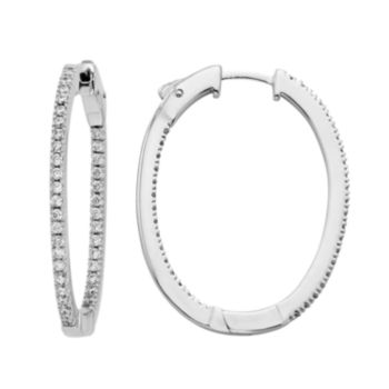Diamond Splendor Cubic Zirconia and Diamond Accent Sterling Silver Inside-Out Hoop Earrings