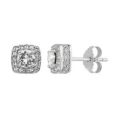 Diamond Splendor Sterling Silver Crystal Accent Square Halo Stud Earrings