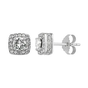 Diamond Splendor Sterling Silver Crystal & Diamond Accent Square Halo Stud Earrings