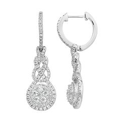 Diamond Splendor Sterling Silver Cubic Zirconia Halo Drop Earrings
