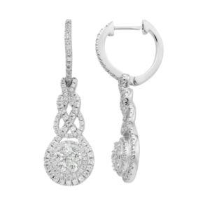 Diamond Splendor Sterling Silver Cubic Zirconia Halo Drop Earrings