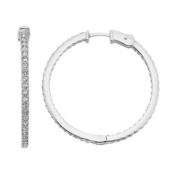 Diamond Splendor Crystal & Diamond Accent Sterling Silver Inside-Out Hoop Earrings