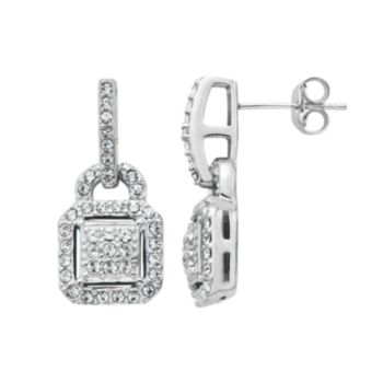 Diamond Splendor Crystal & Diamond Accent Sterling Silver Drop Earrings