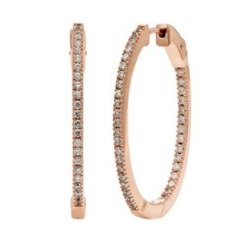 Diamond Splendor Cubic Zirconia & Diamond Accent 14k Rose Gold Vermeil Inside-Out Hoop Earrings