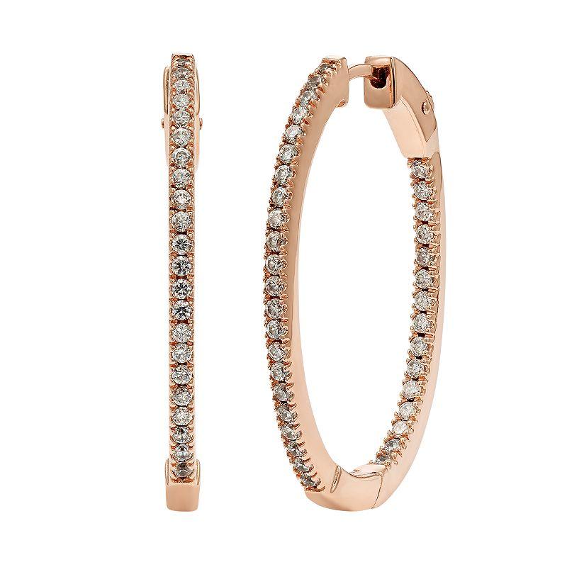 Diamond Splendor Cubic Zirconia & Diamond Accent 14k Rose Gold Vermeil Inside-Out Hoop Earrings, Women's, White