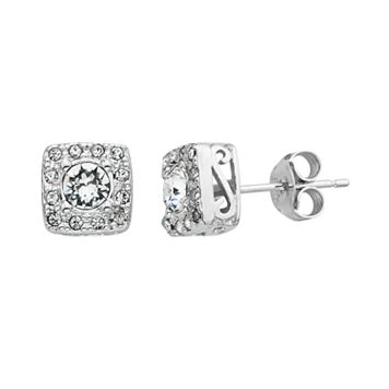 Diamond Splendor Crystal & Diamond Accent Sterling Silver Square Halo Stud Earrings