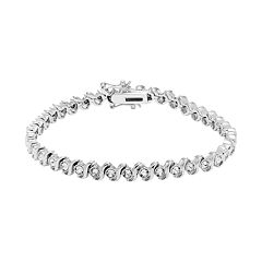 Diamond Splendor Sterling Silver Crystal S Link Tennis Bracelet