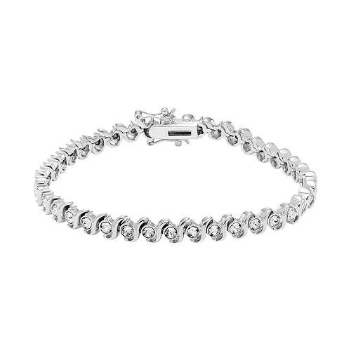 Diamond Splendor Sterling Silver Crystal S Link Tennis Bracelet