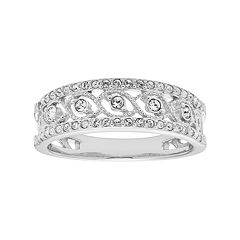Diamond Splendor Sterling Silver Crystal Swirl Ring