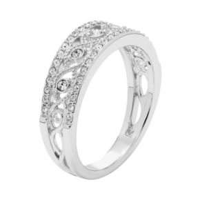 Diamond Splendor Sterling Silver Crystal Swirl Ring