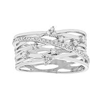 Diamond Splendor Sterling Silver Cubic Zirconia Crisscross Multi Row Ring