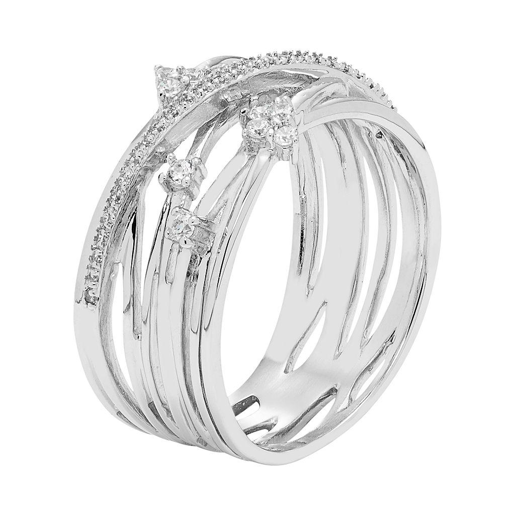 Diamond Splendor Sterling Silver Cubic Zirconia Crisscross Multi Row Ring