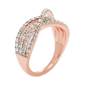 Diamond Splendor 18k Rose Gold Plated Crystal Crisscross Ring