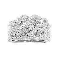 Diamond Splendor Sterling Silver Crystal Wave Ring