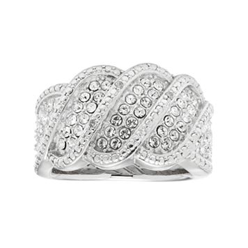 Diamond Splendor Sterling Silver Crystal Wave Ring